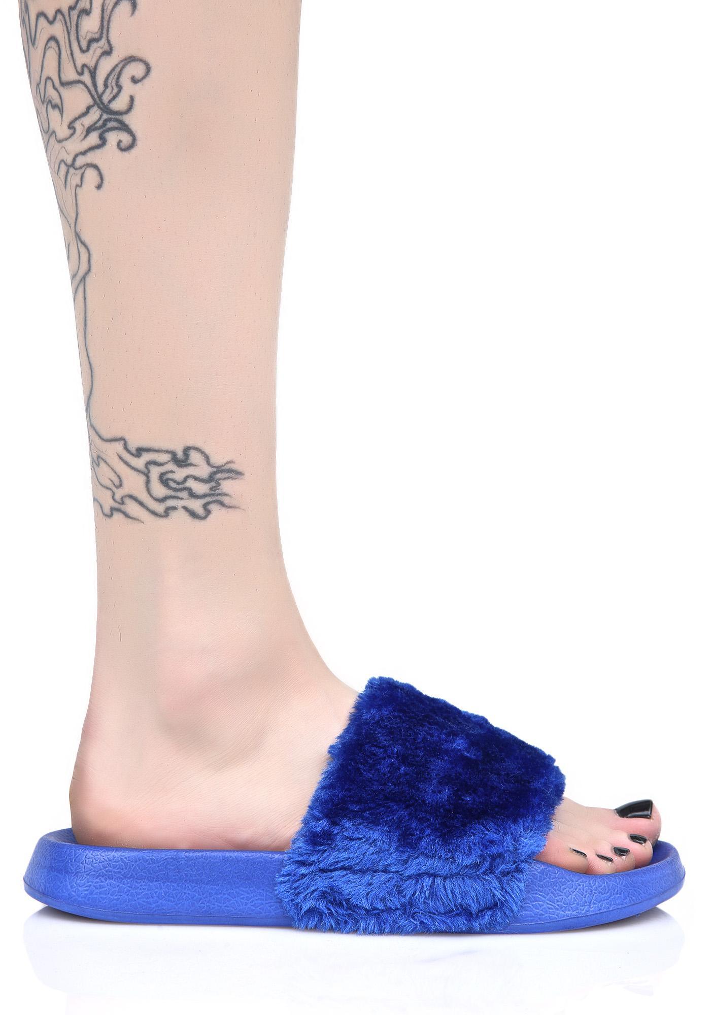Lust For Life Cobalt Furry Slides