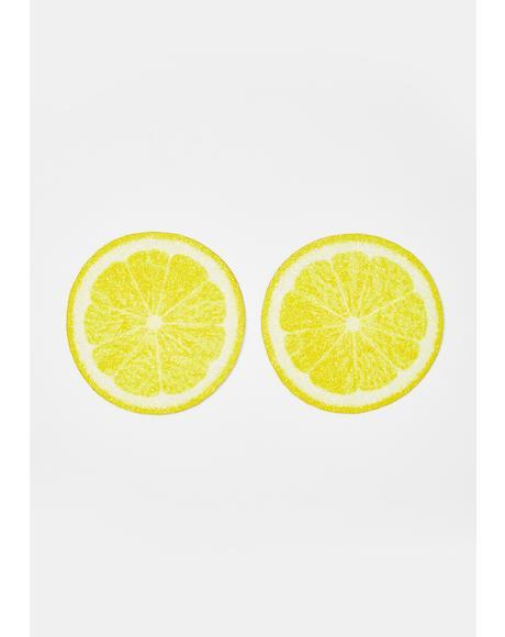 Lemon Slice Glitter Pasties