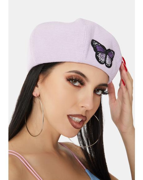 Butterfly Season Waffle Beret Hat