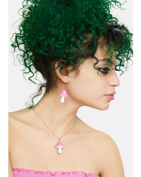 Candy Nature Vision Mushroom Earrings And Necklace Set