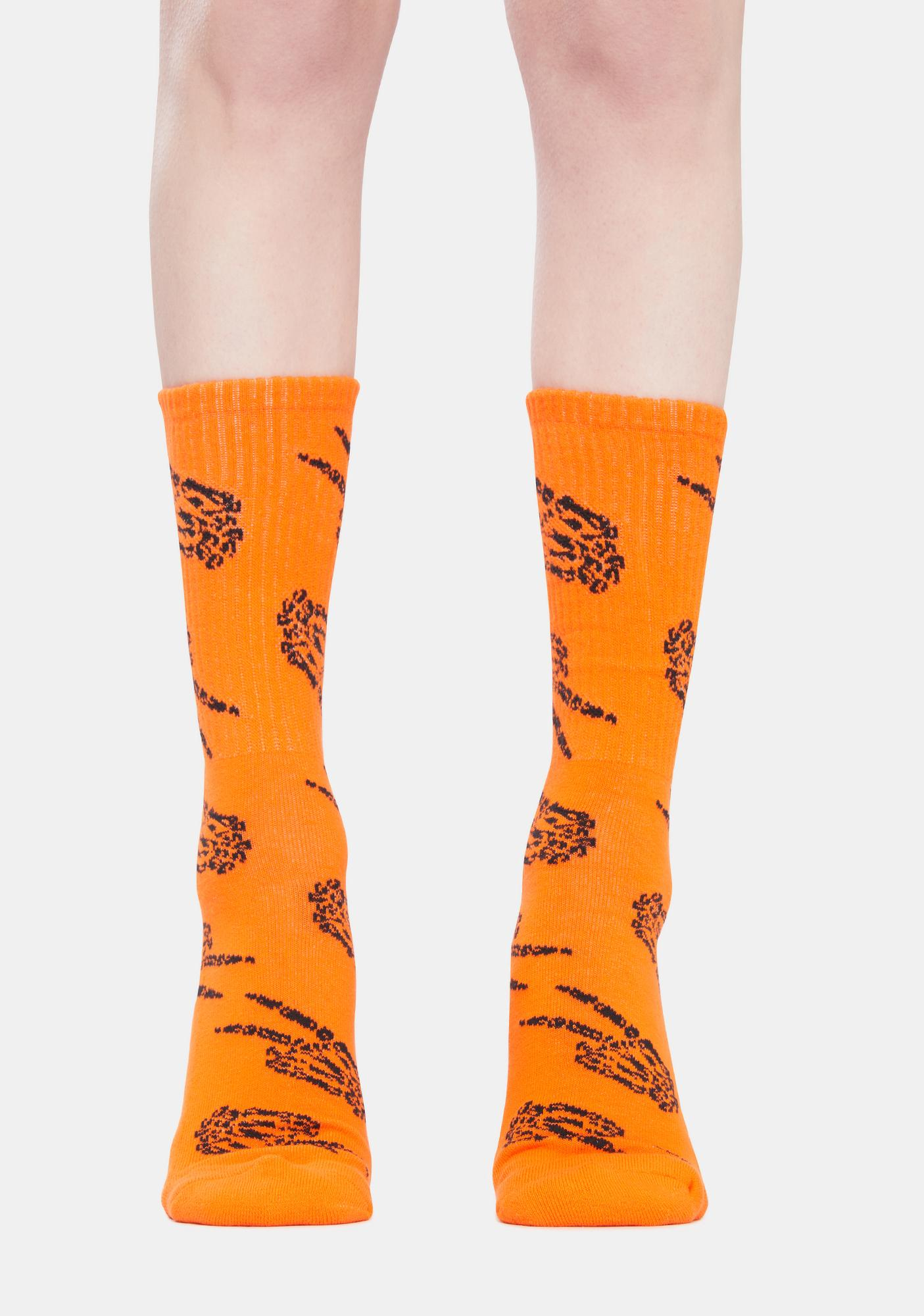 No Hours Orange Peace Crew Socks