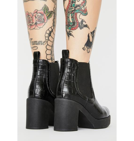 Rebels Noir Chasing Prey Snakeskin Ankle Boots