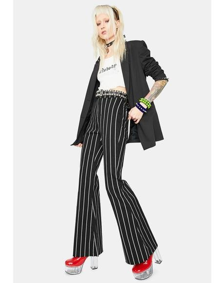 Business Babe Striped Flare Pants