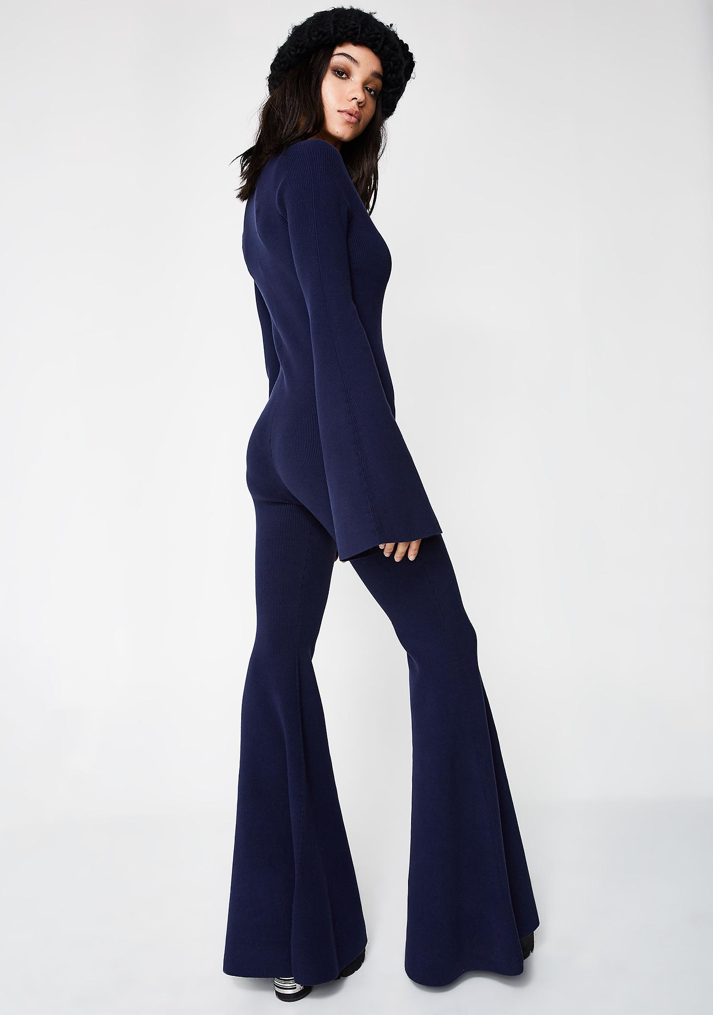 296470d54ee ... PUMA FENTY PUMA By Rihanna Navy Deep V Sweater Knit One Piece ...