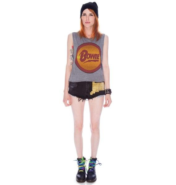 Chaser David Bowie Logo Muscle Crop Tank