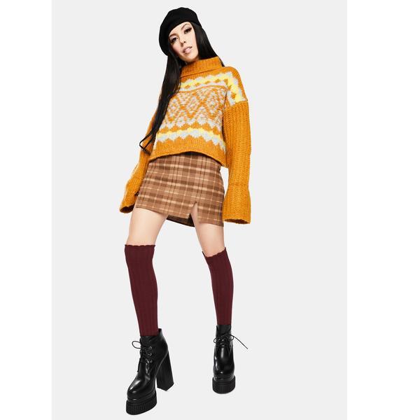Motel Brown Check Zila Mini Skirt