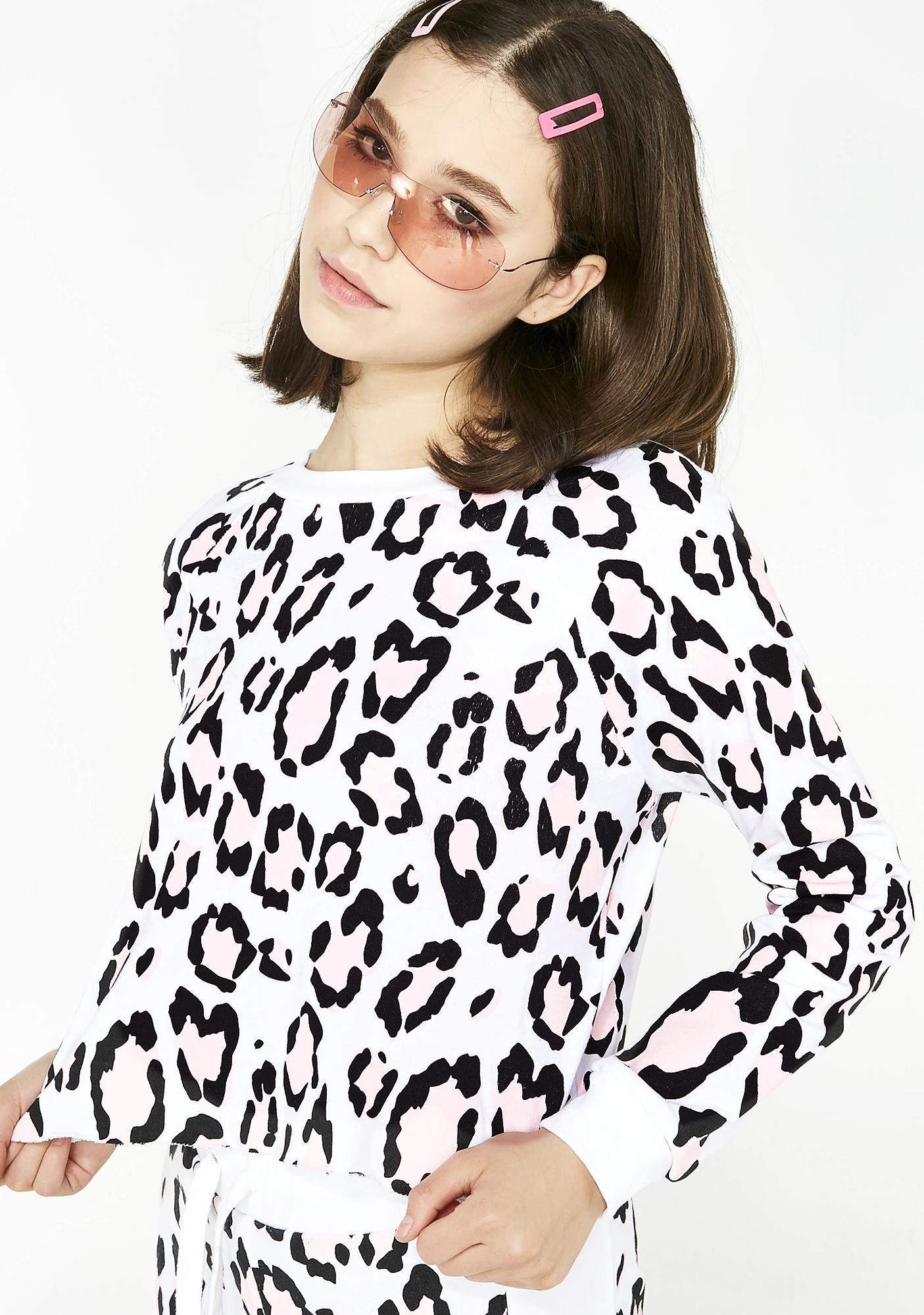 Wildfox Couture Blush Leopard Beach House Crop Sweater