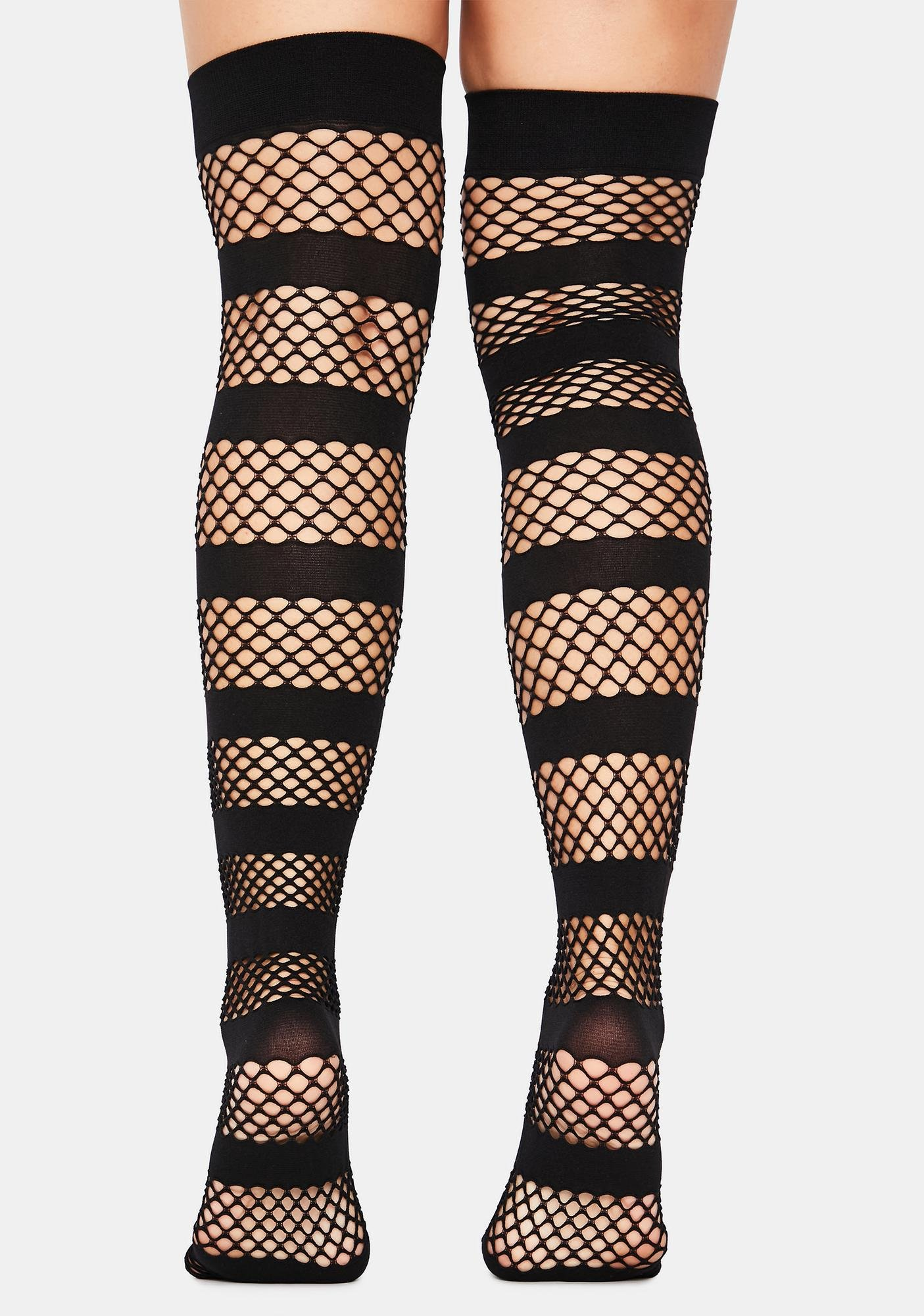 Miz Monster Fishnet Striped Thigh Highs