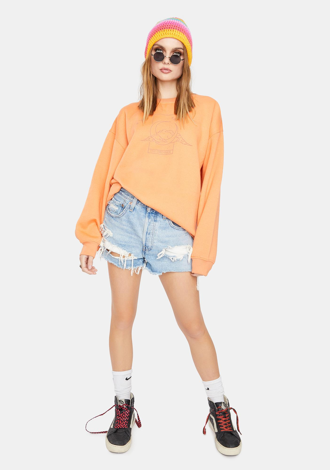 Daisy Street Overdyed Moon Graphic Crewneck Sweater