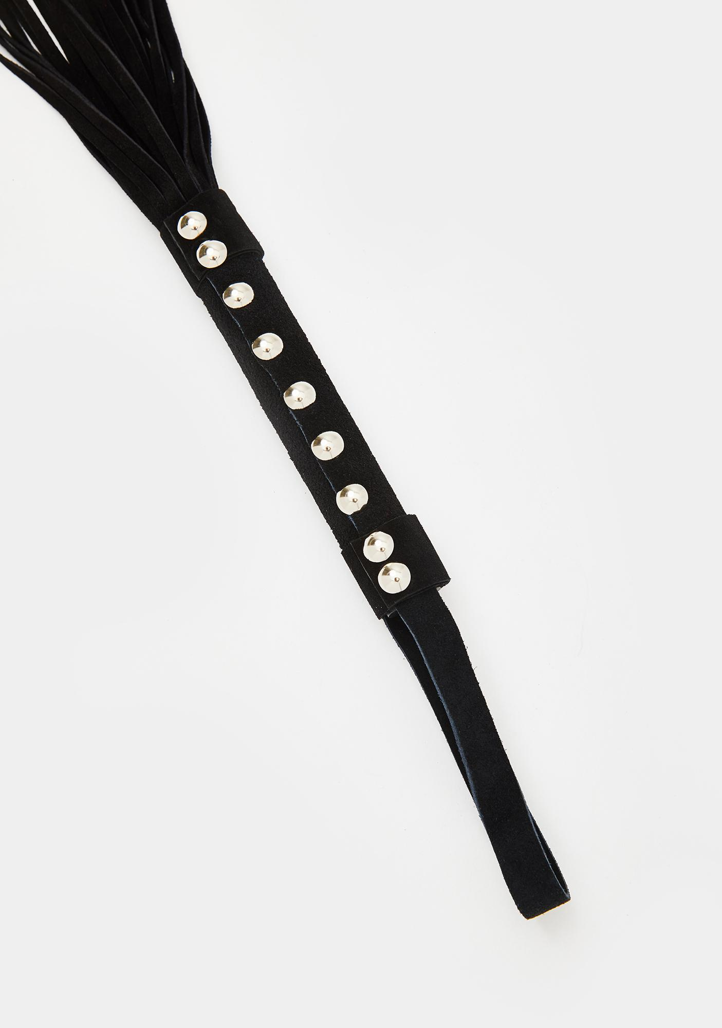 Forplay Black Studded Handle Tassel Whip
