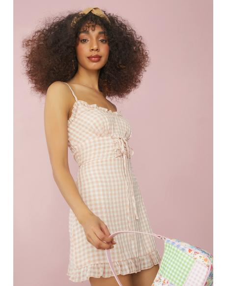 Gingham Innocent Indulgence Lace Up Dress