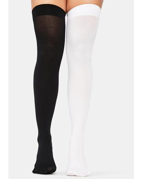 Salty Opposites Attract Mismatched Thigh High Socks