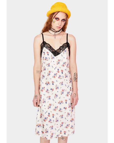 90s Lace Floral Slip Dress