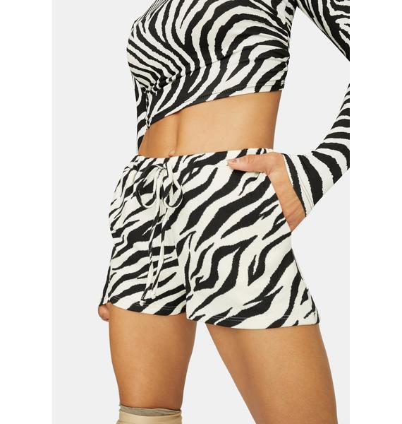 Gone Wild Zebra Print Lounge Shorts