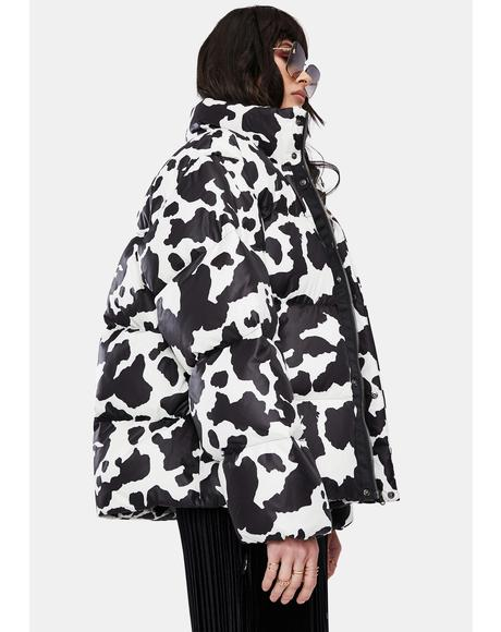 Cow Print Down Jacket