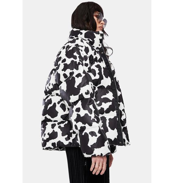 BADEE Cow Print Down Jacket