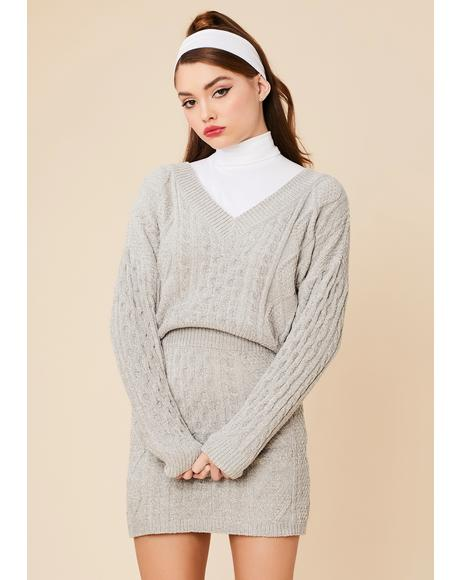 In Session Cable Knit Sweater Set With Socks