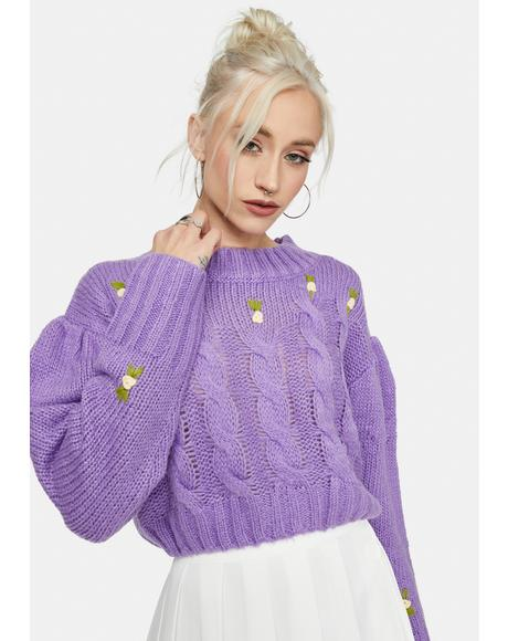Magic The Real Thing Rosette Cableknit Sweater