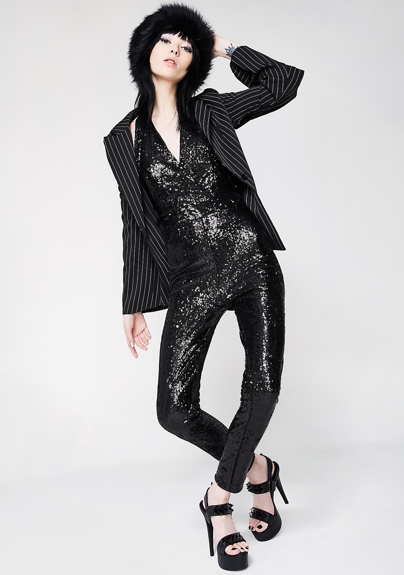 Onyx Spotlight Sight Sequin Catsuit