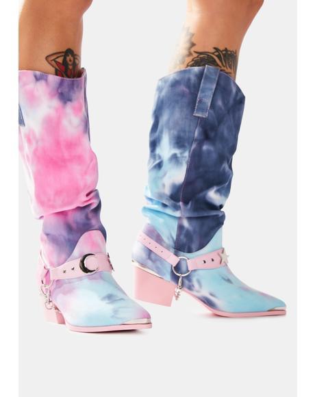Death Proof Pastel Tie Dye Cowboy Boots