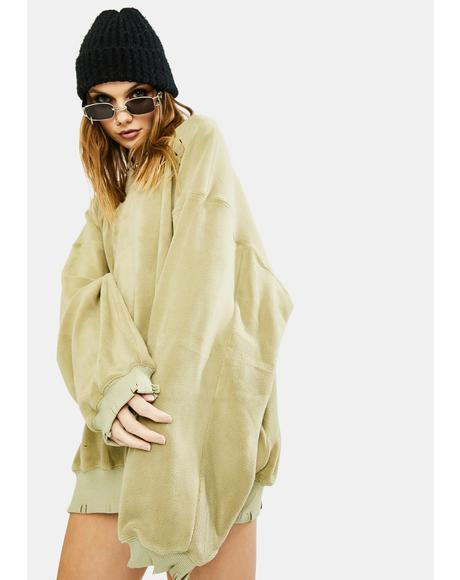 Sage Oversized Distressed Sweatshirt