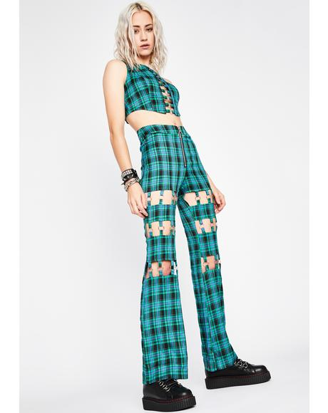 Plaid Habits Cut-Out Pants