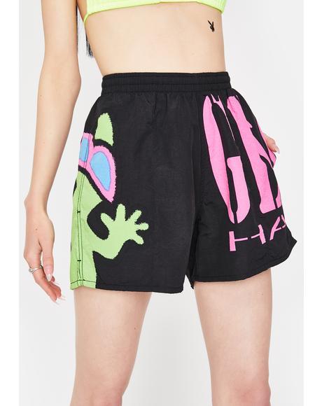 Black Gecko Wrap Volley Shorts