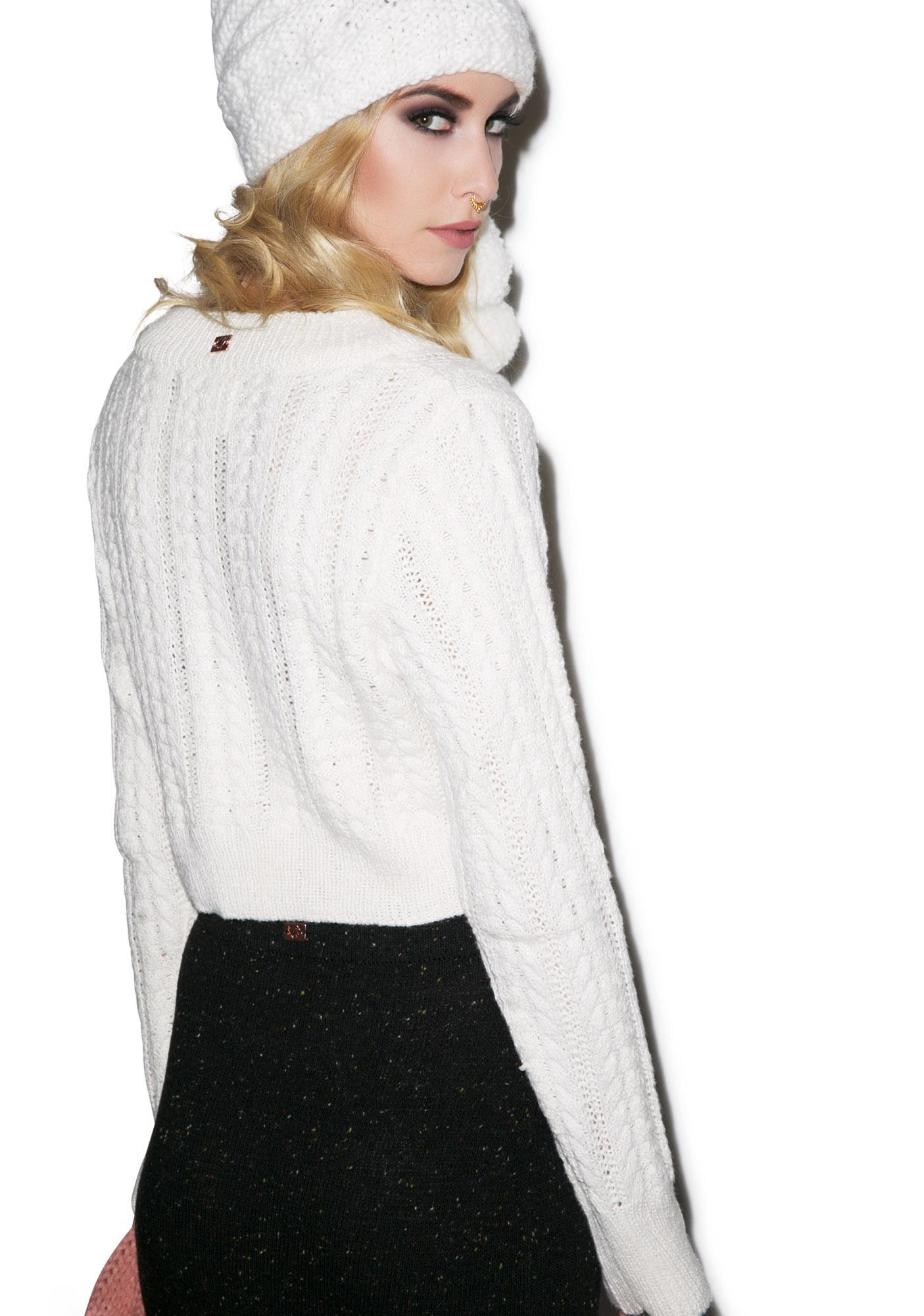 For Love & Lemons Frostine Cropped Sweater
