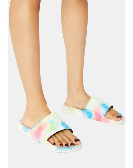 Candy Cloudless Sky Tie Dye Slides