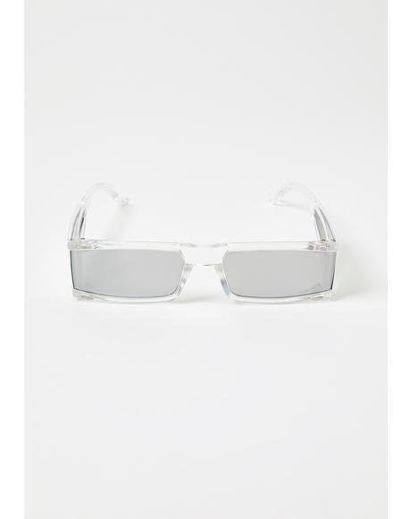 Crystal Same Wave Square Sunglasses