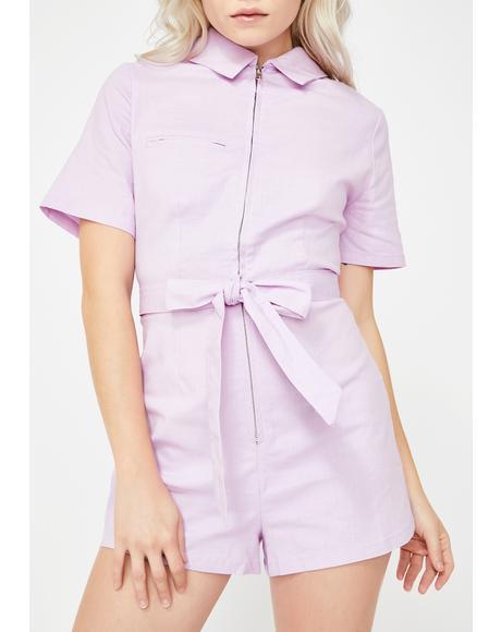 Pink Zip-Up Tie Waist Romper