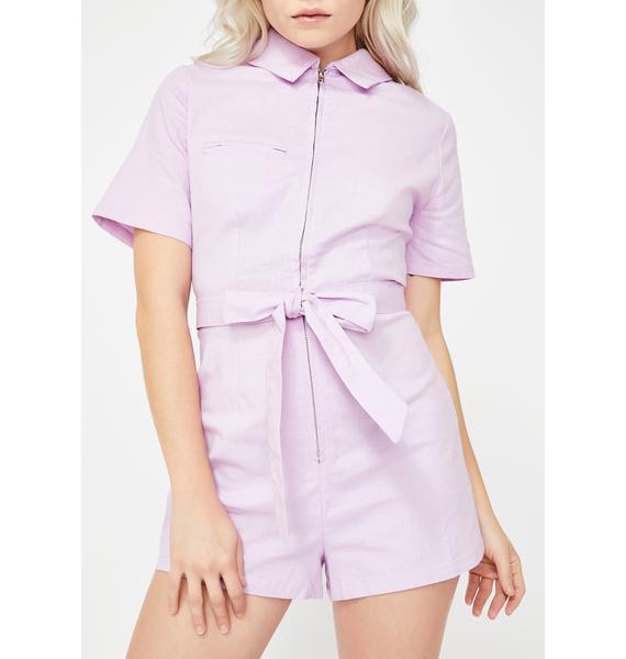 Momokrom Pink Zip-Up Tie Waist Romper