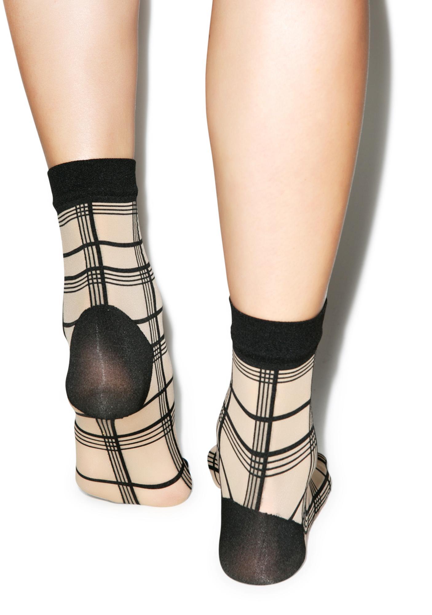 Pretty Polly Grid Stripe Ankle Highs