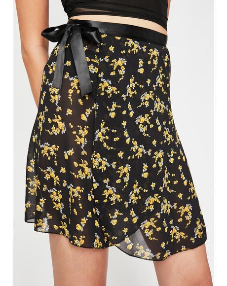 Calla Lily Chiffon Wrap Skirt