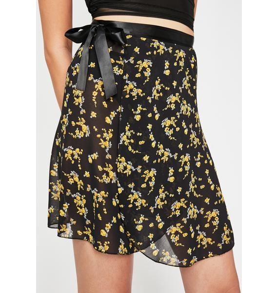 Current Mood Calla Lily Chiffon Wrap Skirt