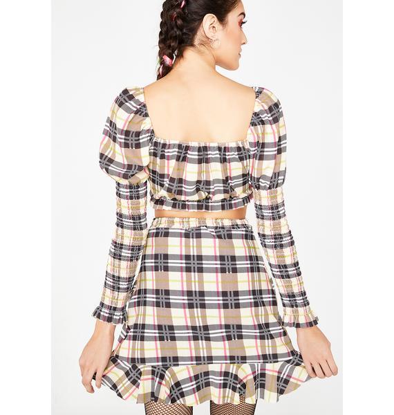 NEW GIRL ORDER Check Frill Mini Skirt