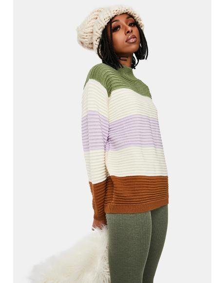Sweet Daze Colorblock Knit Sweater