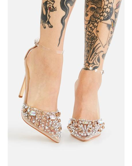 Nude Popstar Jeweled Heels
