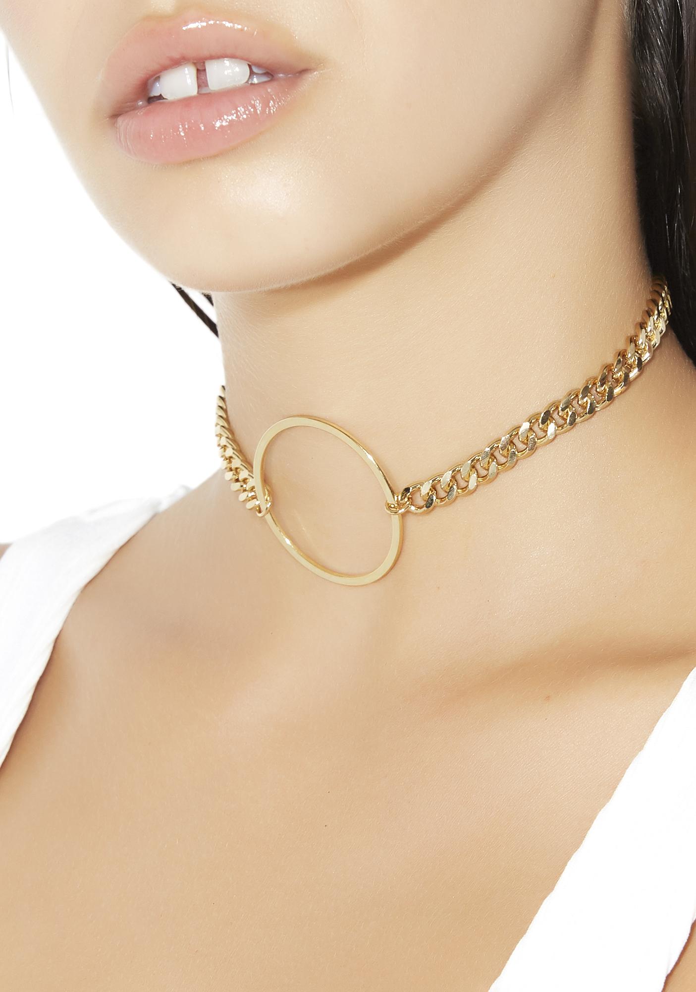 O-Ring Chain Skinny Choker Set Black Gold