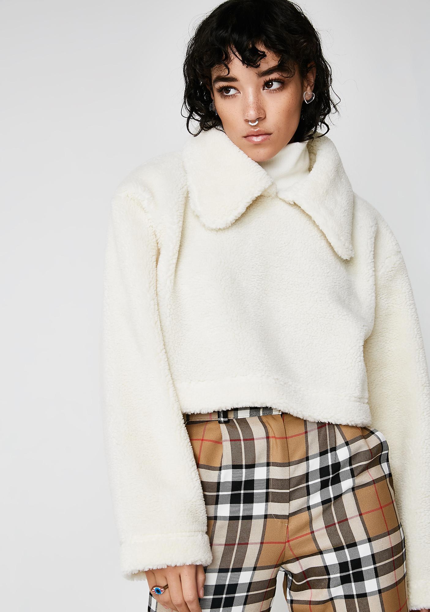 Somewhere Nowhere Sherpa Fleece Collar Sweater
