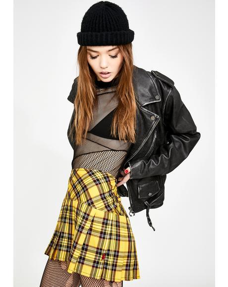 Pleated Yellow Plaid Skirt
