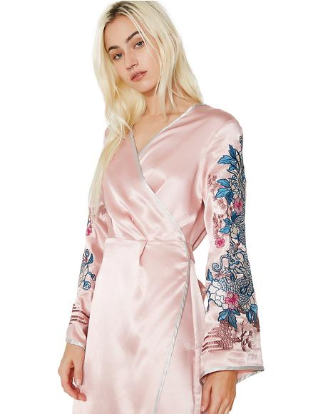 Rosewood Embroidered Wrap Dress