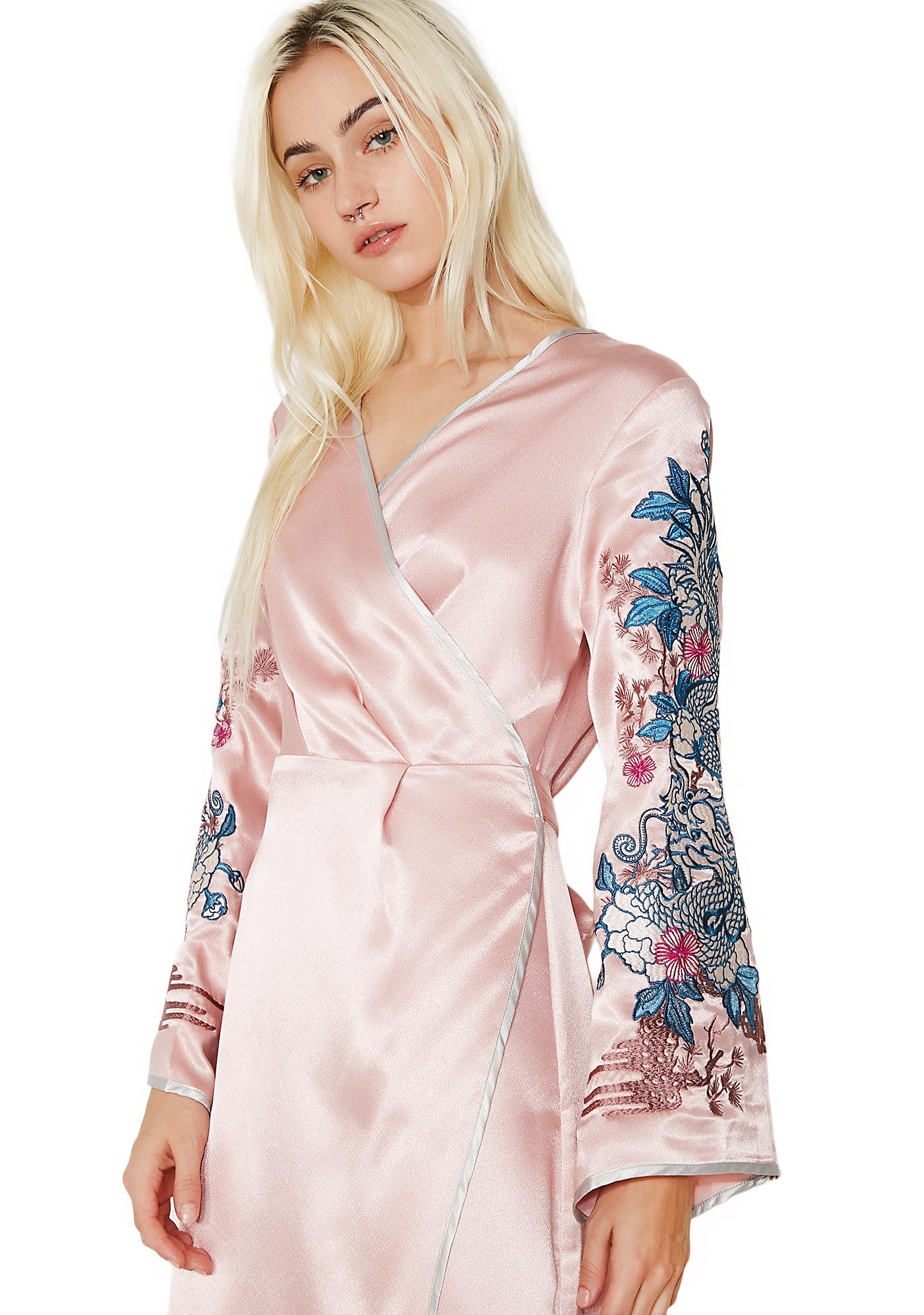 Glamorous Rosewood Embroidered Wrap Dress