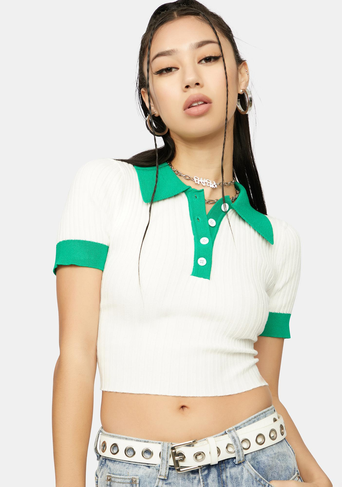 Olive Forgotten Lover Collared Crop Top