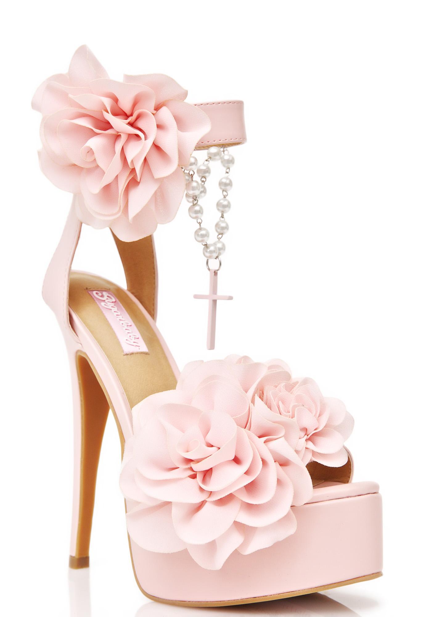 Sugar Thrillz Rosary Cross Pink Heels | Dolls Kill