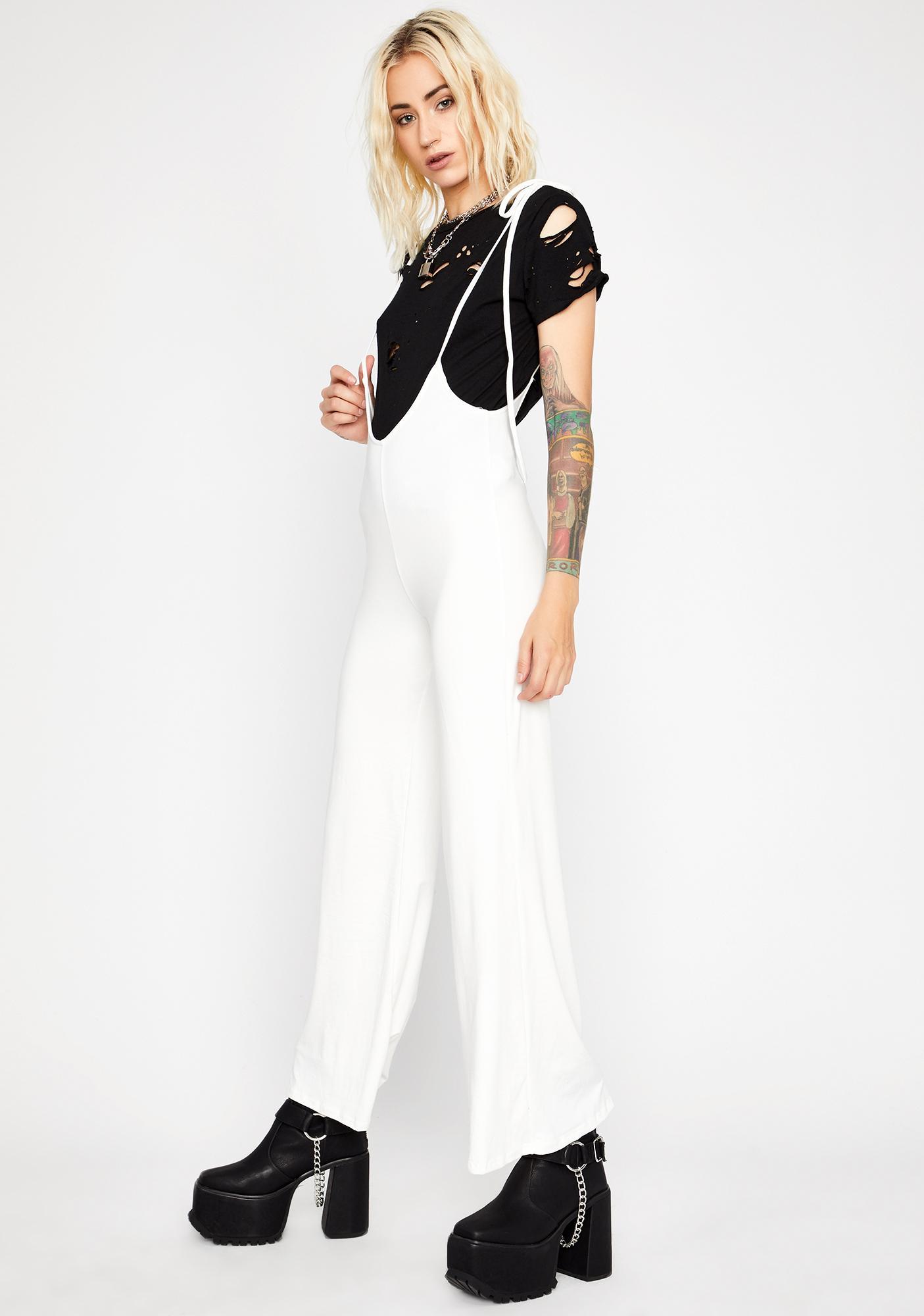 Blanc Chic Mood Plunge Jumpsuit