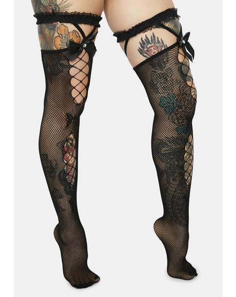Secrets Spiller Ruffle Garter Socks