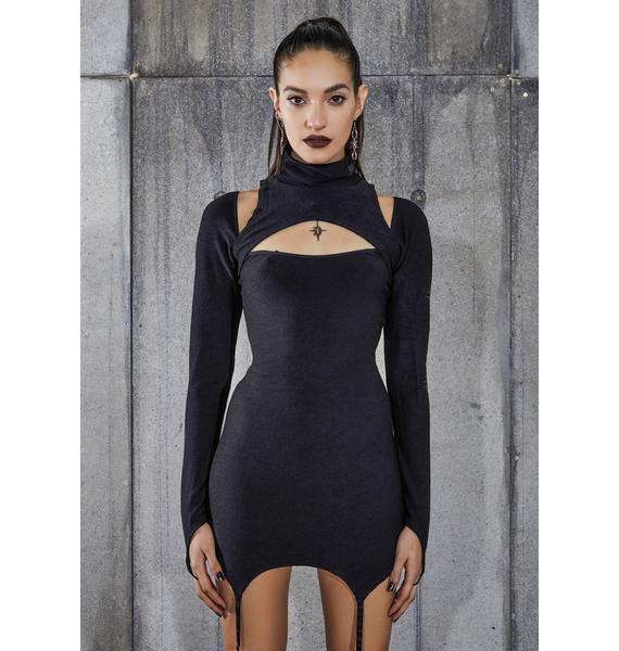 DARKER WAVS Snare Cut-Out Garter Dress With Logo Charm