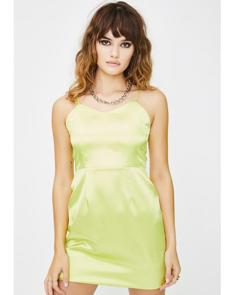 Yellow Satin Mini Dress