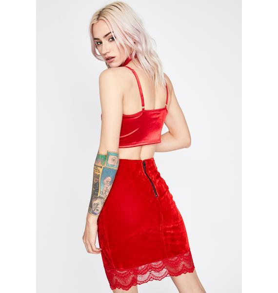 Scarlet Where Are My Manners Velvet Skirt